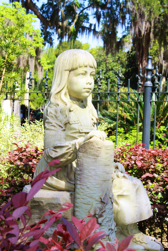 Little Gracie Watson's statue at Bonaventure Cemetery in Savannah, GA